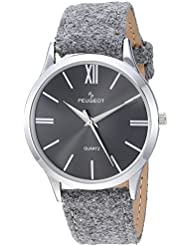 Peugeot Womens Slim Case Quartz Metal and Canvas Casual Watch, Color:Grey (Model: 2058GY)