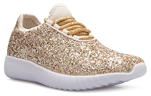 OLIVIA K Kids Girls Boys Easy On Casual Fashion Sparkly Glitter Sneakers - Comfort, Lightweight,9 M US Toddler,Gold Glitter ()
