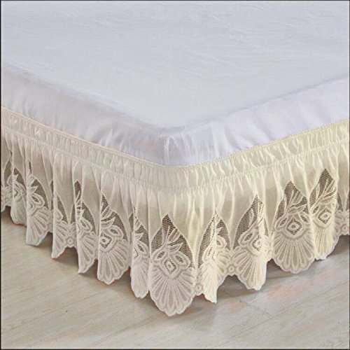 Lace Wrap Around Wrap - hxxkact Lace Wrap around bed, Skirt elastic dust ruffle easy fit Wrinkle and fade resistant solid color hotel quality fabric 15inch Drop Queen-king Full Pins Twin-B 200x220cm(79x87inch)