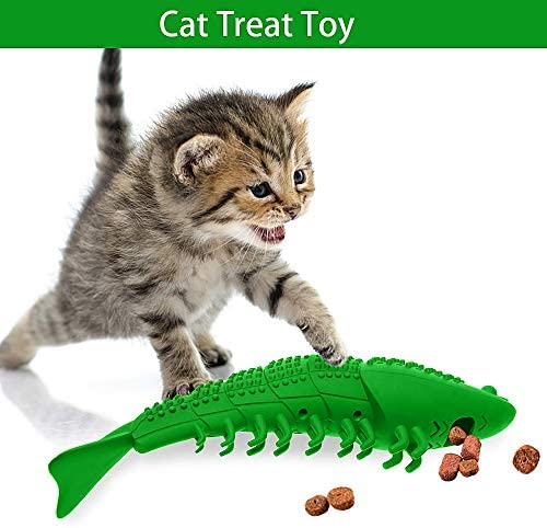 RUCACIO Cat Toys Interactive Kitten Catnip Toys Cat Treat Toy Cat Stuff Toothbrush Teeth Cleaning Chew Toy Lobster Shape Great Christmas Gifts100% Natural Rubber Bite Resistance 7