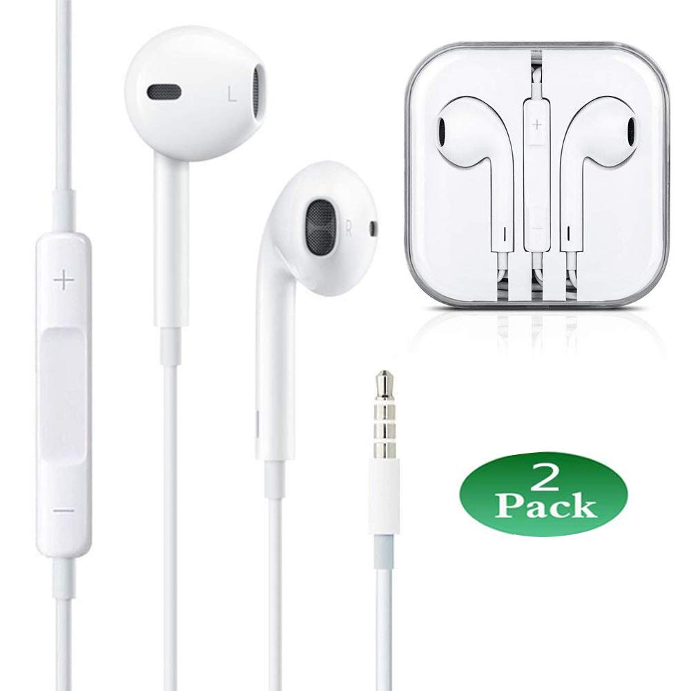 2-Pack Premium Earphones/Earbuds/Headphones with Stereo MicRemote Control Compatible with iPhone iPad iPod Samsung Galaxy and More Android Smartphones Compatible with 3.5 mm Headphone(White)