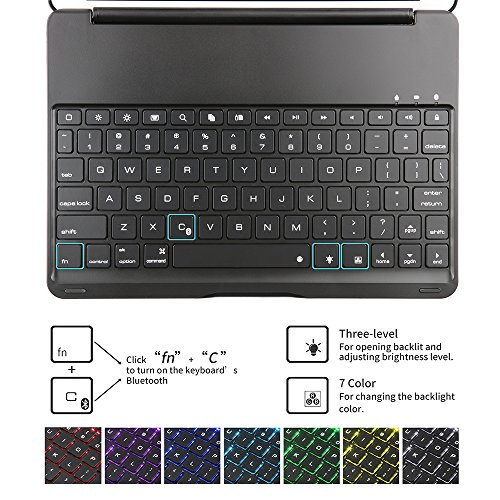 Keyboard Case iPad 9.7 2018(6th Gen) - iPad 9.7 2017(5th Gen) - iPad Air 1-130 Rotating - 7 Color Backlit Keyboard -Thin & Light - iPad Case with Keyboard, (Black, 9,7)
