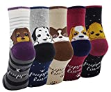 Lady's Girls 5 Pack of Fashion Cartoon Dog Animals Cute Socks, Multi Color
