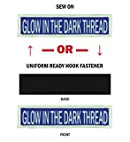 GLOW Morale Name Tapes with GLOW Border! Over 35 Fabrics to choose! Made in USA!! Royal Blue, Sew On.