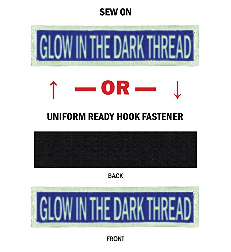 GLOW Morale Name Tapes with GLOW Border! Over 35 Fabrics to choose! Made in USA!! Royal Blue, Sew On. by Northern Safari