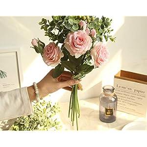 Bridal Rose Wedding Bouquet Bridesmaid Peony Eucalyptus Leaves Bouquets Artificial Silk Flowers Arrangement,Small-White 2