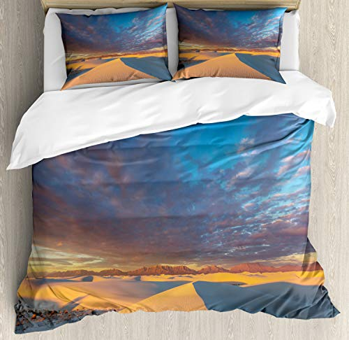 Lunarable New Mexico Duvet Cover Set Queen Size, Wind Rippled Sand Dunes at White Sands National Monument Nature, Decorative 3 Piece Bedding Set with 2 Pillow Shams, Sand Brown and Multicolor