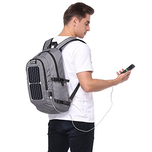 ECEEN Solar Powered Business Laptop Backpack Slim Computer Bag College School Backpack Eco-friendly Travel Shoulder Bag with 7 Watts Solar Panel & USB Charging Port Fits UNDER 15.6'' Laptop & Notebook by ECEEN (Image #4)