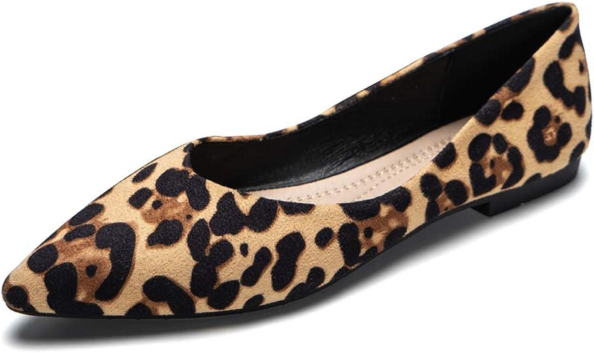 URELEGAN Women Leopard Pointed Toe
