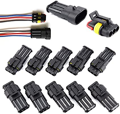 SurePromise One Stop Solution for Sourcing 10 Sets 2 Pin Car Auto Waterproof Electrical Connectors Plug Socket Kit Wire AWG Gauge Marine