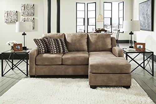 Alturo Contemporary Rich Faux Leather Dune Color Sofa Chaise