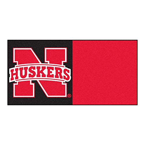(Fanmats NCAA University of Nebraska Cornhuskers Nylon Face Team Carpet Tiles)