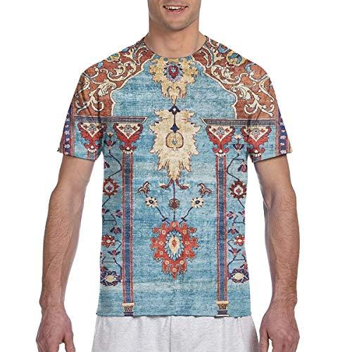 - Antique Persian Silk Rug T-Shirts Men's Casual Short Sleeve Graphic Tee Shirts Black