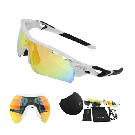 8a3f175705 POLARIZED Sports Sunglasses Cycling Glasses With 5 Interchangeable Lenses  (White Black)