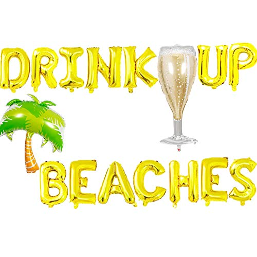 Drink Up Beaches Balloons, Beaches Hawaii Luau Palm Tree Tropical Summer Party Banner, Beaches Coconut Tree Champagne Bottle Party Supplies Decorations (Banner Palm Tree)