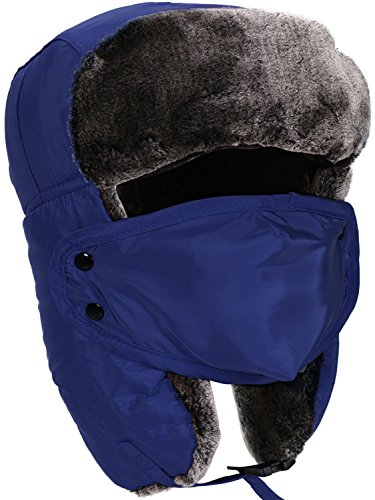 Winter Russian Hat Faux Fur Trapper Hat with Ear Flaps, and Face Mask, Blue (Faux Fur Trapper)