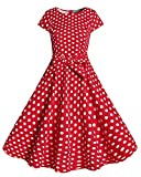 Kidsform Women Vintage Dress Summer Casual Floral Classy 1950s Cocktail Party Bodycon Prom Swing A-Line Flower Dresses Red Small