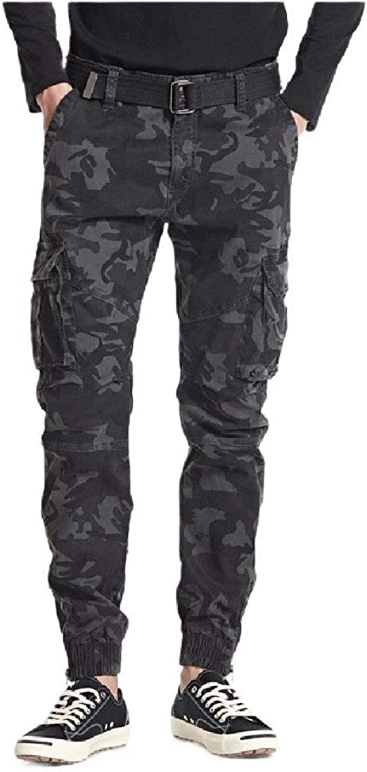 AngelSpace Men's Camouflage Cargo Pant Flat-Front Chino Pant for Sport