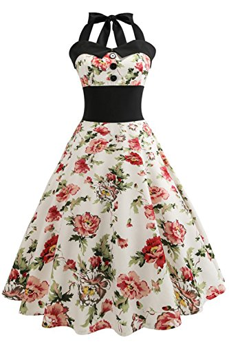 Floral Print Simple Plain Summer Cocktail Party Dress(Wh+Re Floral,L) from Babyonlinedress