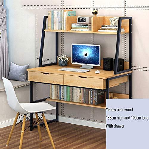 Desktop Table Simple Modern Home Desk, Simple Writing Desk Desk Yellow Pear Wood Color ()