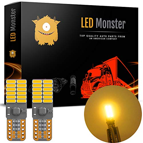 LED Monster Extremely Bright 3030 Chipset LED Bulbs for Car Interior Dome Map Door Courtesy License Plate Lights Compact Wedge T10 168 194 2825 Xenon Amber Pack of 2