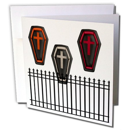 3dRose Anne Marie Baugh - Halloween - Three Halloween Caskets Behind A Fence - 1 Greeting Card with envelope (gc_216962_5) -