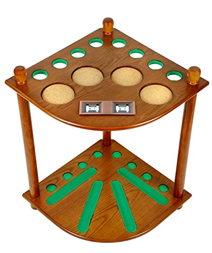 8-Cue-Stick-Pool-Table-Ball-Floor-Rack-with-Scorer-Oak-Finish