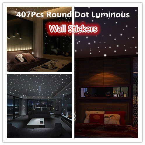 Clearance Sale!UMFunGlow In The Dark Star Wall Stickers 407Pcs Round Dot Luminous Kids Room Decor ()