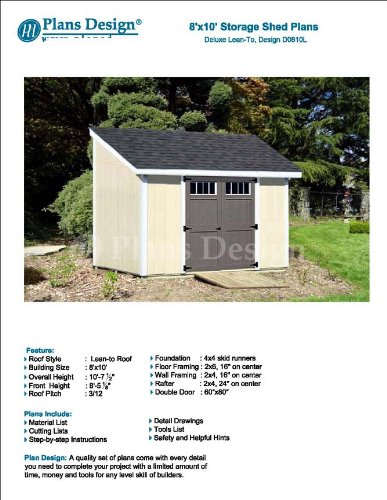 8 X 10 Deluxe Shed Plans Lean To Roof Style Design