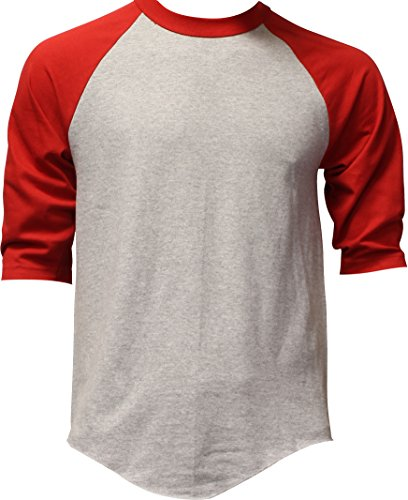 Casual Raglan Tee 3/4 Sleeve TShirt Baseball Jersey L Heather Gray Red (Red Raglan)