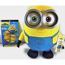 Minions Jumbo Talking Bob Plush 14 Inches Tall Interactive Sound And Light Toy And Minion Sticker Book -2 Piece Bundle