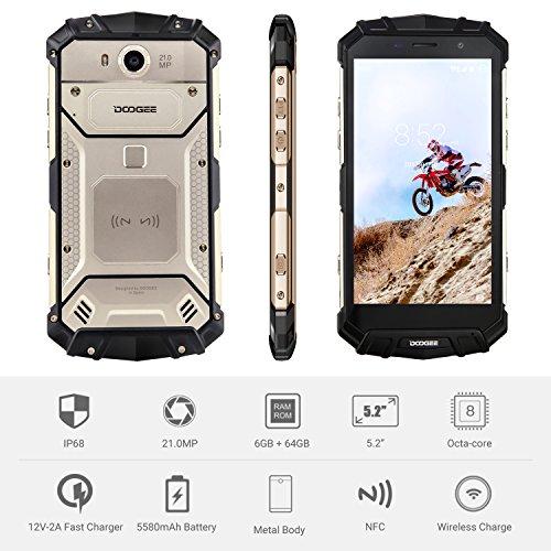 Smartphone Libre, DOOGEE MIX LITE Moviles Libres Baratos, 5.2 Pulgadas HD IPS - MT6737 4G Android 7.0 Telefonos - 13.0MP+13.0MP Cámara - 2GB + 16GB + Batería de 3080mAh - Huella Dactilar - (Azul) S60-Oro