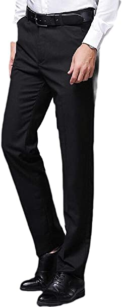 Cromoncent Mens Casual Thin Mid Waist Straight Leg Business Basic Pant