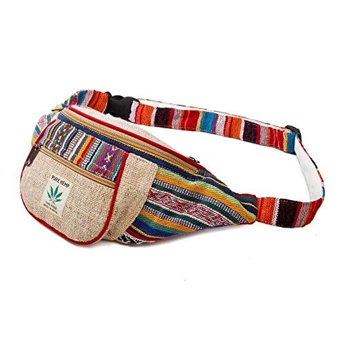 (Maha Bodhi Handmade Hemp Festival Waistpack Boho Hippie Waist Bag Hip Bum Running Belt Fanny Pack ~ Multi Color Stripe)