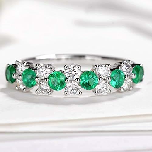 Amazon.com: Emerald wedding ring Diamond wedding band for