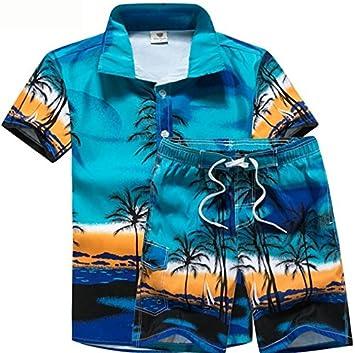 e394f4cac KAIFANG Mens Hawaiian Shirt Stag Beach Hawaii Aloha Party Summer Holiday  Fancy Palm Shirt and Short