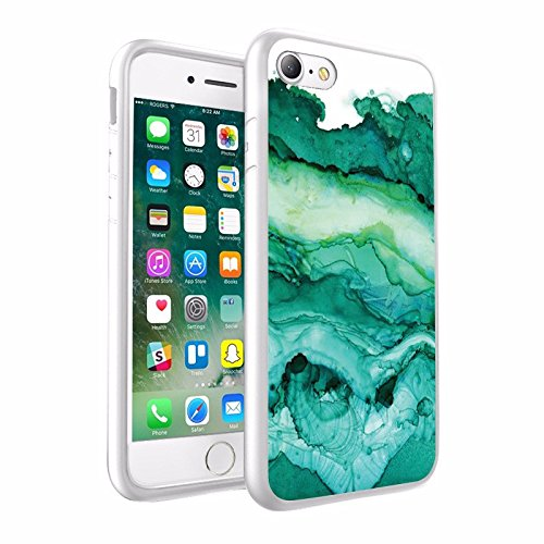 iPhone X Hülle, einzigartige Custom Design Prodective harte zurück dünner dünner Fit PC Bumper Case Kratzfeste Abdeckung für iPhone X - Wellenförmige Mint Marmor Design 027