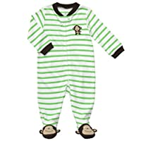 Carters Monkey Stripe Zip Up Dormir y jugar VERDE 3 Mo