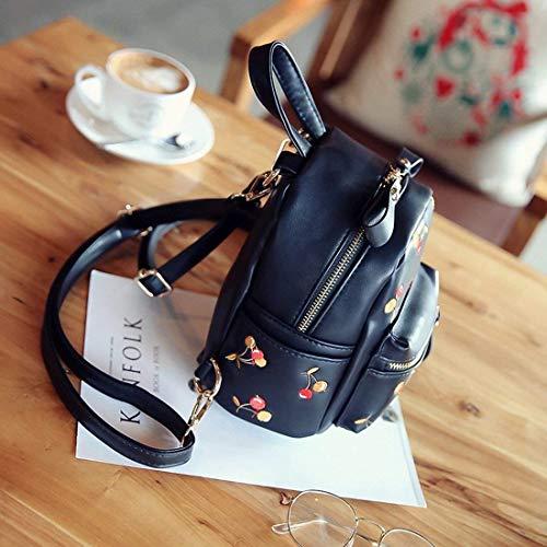 Cerisier Noir Lady Handbags Sac bandoulière Dos coloré à à Blanc Sac Casual Broderie Mini Street Taille qwZXtxx