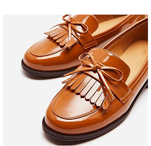 Brun Femmes Gland Chaussures 36 pour Retro Simples Bas d'automne Britannique Vent Femme Plat Chaussures Chaussures ngqPOzn8