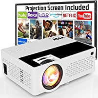 TMY Projector with 100 Inch Projector Screen, 1080P Full HD Supported Video Projector 5500 Lumen, Mini Movie Projector...