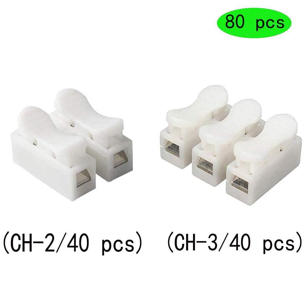 Her Kindness Conector del cable de resorte CH2 y CH3 Bloque de Terminal R/ápido de Resorte 6A