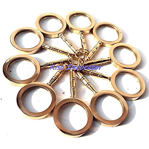 LOT of 10 Necklace Style Shiny Brass Magnifying Glass Magnifier Nautical Gift j