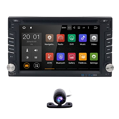 Best Wifi Model Android 6.0 Quad-Core 6.2 Inch Touch-screen Universal Car DVD CD player GPS Double 2 din Stereo GPS Navigation Free Map by HIZPO