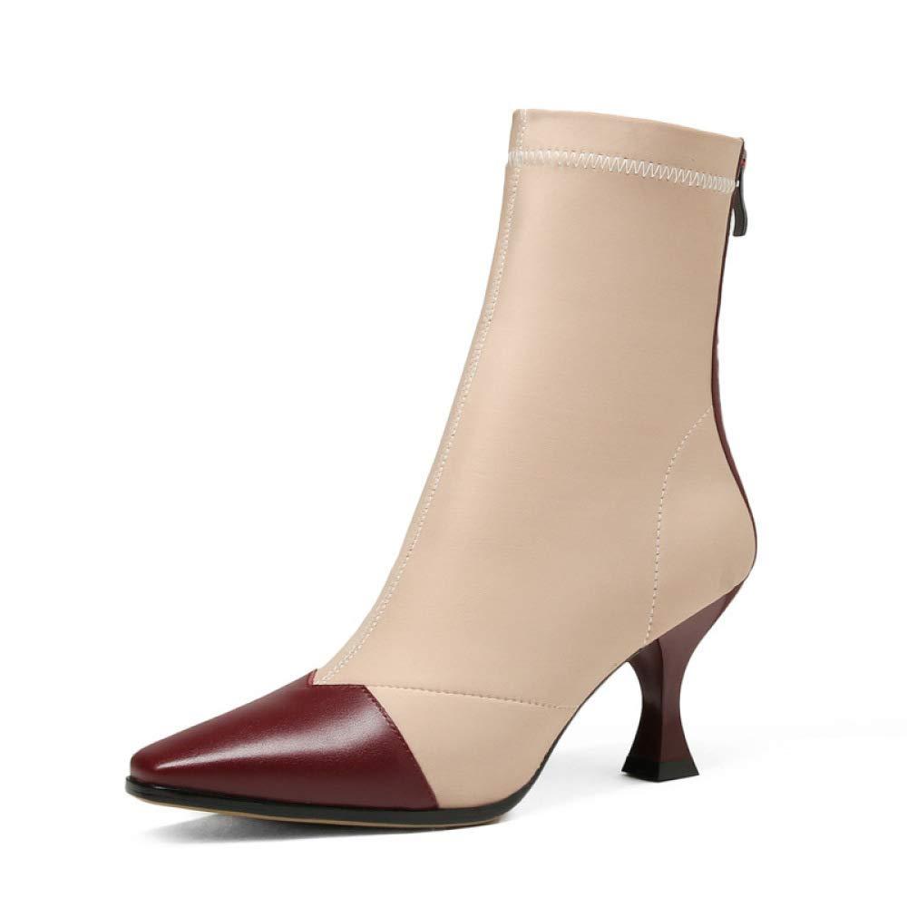 HhGold Damenstiefel Damenstiefel Damenstiefel - England Schwarze Stiefeletten Fashion Einfache einfarbige warme Stiefel Dünn mit Spitzen Stiefeln   34-39 (Farbe   Weinrot, Größe   39) 40bd11