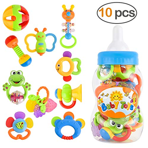 GotechoD Boys Baby Infant Toys Newborn,Baby Infant Rattle Teether Toy Girls,Baby Newborn Infant Rattles Gifts Set 3 6 9 12 Month