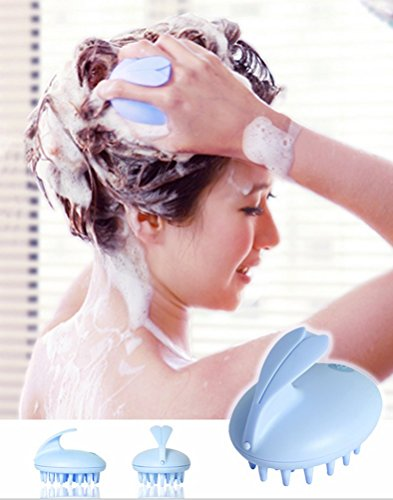 Battery Operated Pet Massager (Head Shower Massager Silicone Soft Comb Shampoo Hair Brush for Women (Blue))
