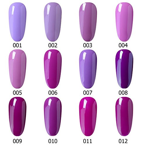 Gel polaco, Soak Off UV LED Nail Art de Uñas Esmalte de Uñas Polaco duradero brillante 7 ml rosáceo Purple Serie: Amazon.es: Belleza