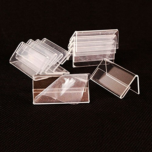 GoNear 50pcs Mini Sign Display Holder, L Shape Clear Acrylic Price Name Card Tag Label Stand, Retail Store Counter Top Shelf Stand ()