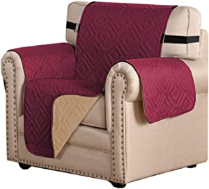 "Reversible Chair Cover Furniture Protector Anti-Slip Couch Cover Water Resistant 2 Inch Wide Elastic Straps Chair Slipcover Pets Kids Fit Sitting Width Up to 21"" (Chair, Burgundy/Beige)"